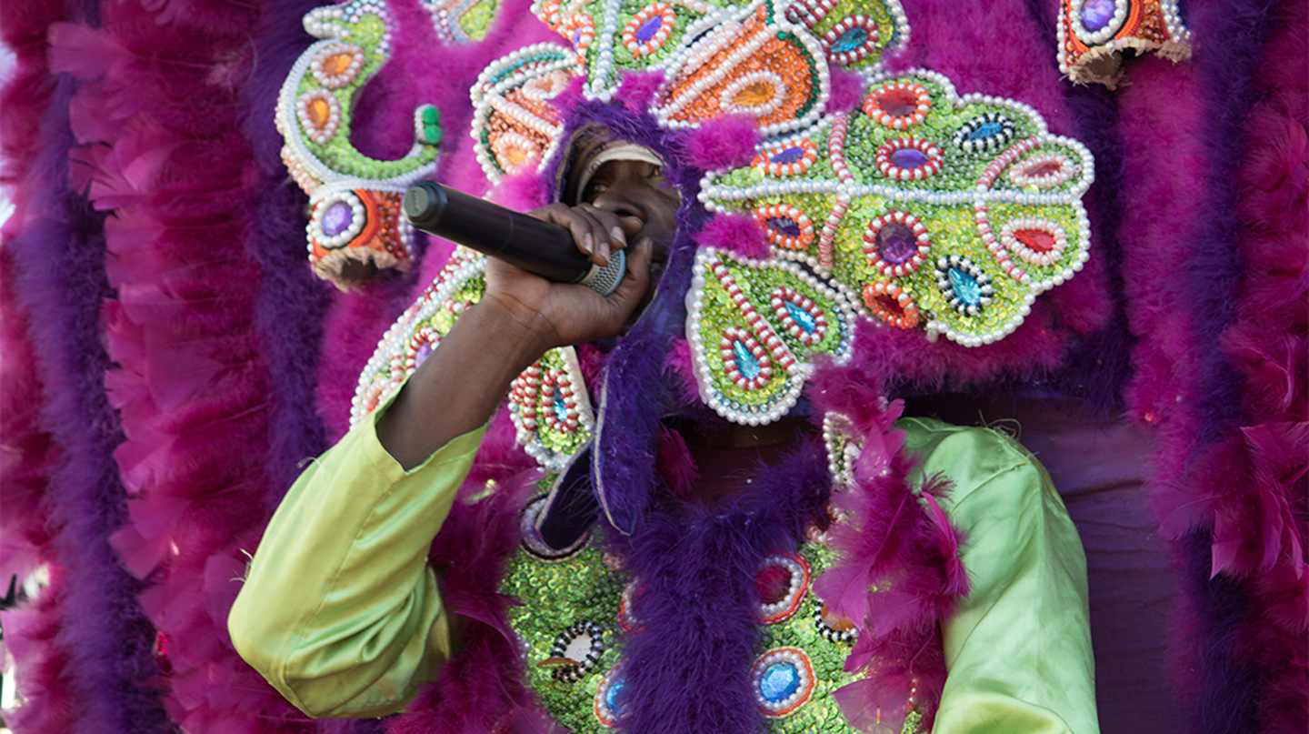 Mardi Gras Indian, 7th Ward second line, New Orleans, 2017 | © Carolyn Heneghan