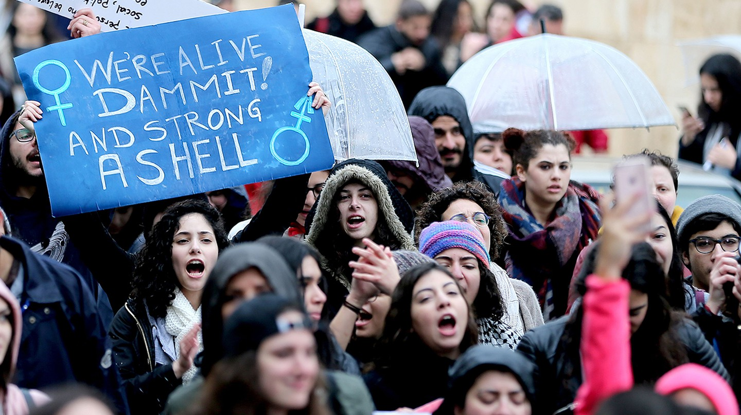 Activists participate in a match calling for granting women more rights across the streets of Beirut, Lebanon | © NABIL MOUNZER/EPA/REX/Shutterstock