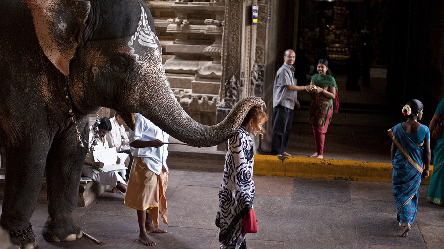 Elephant blessing at Meenakshi Amman Temple