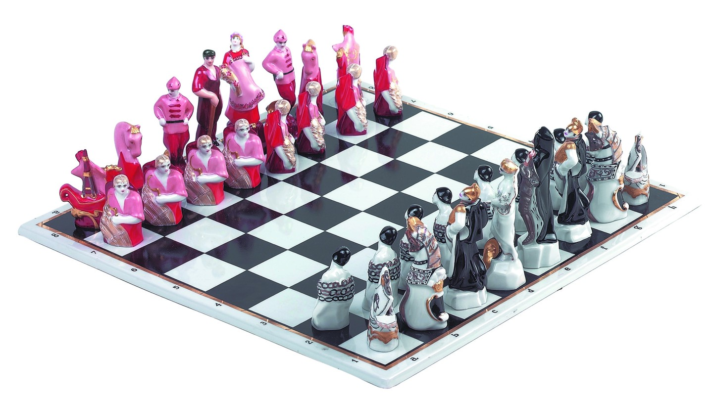 """""""Red and White"""" chess set 