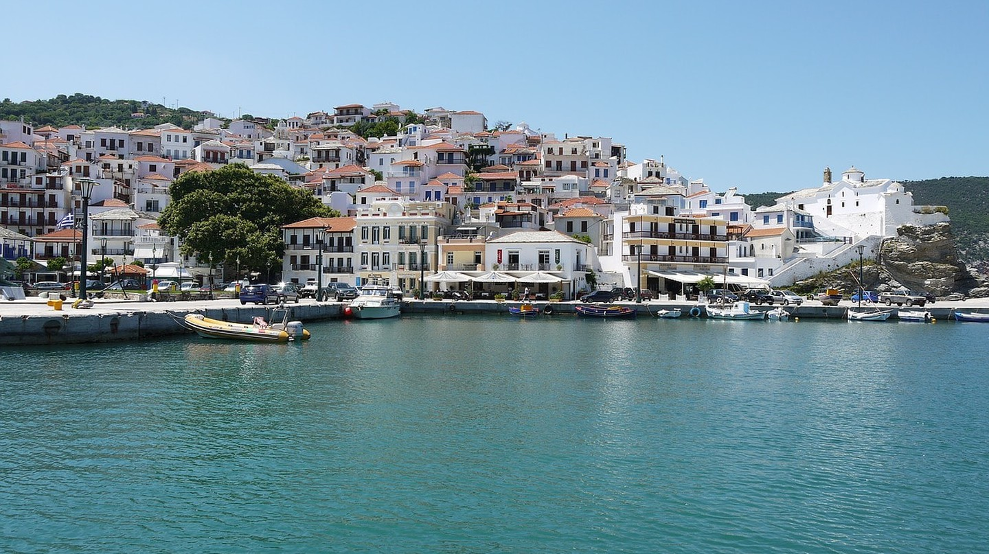 "<a href=""https://pixabay.com/en/skopelos-christos-town-greece-2304044/"" target=""_blank"" rel=""noopener noreferrer"">Skopelos, Greece, as seen in <em>Mamma Mia!</em> 