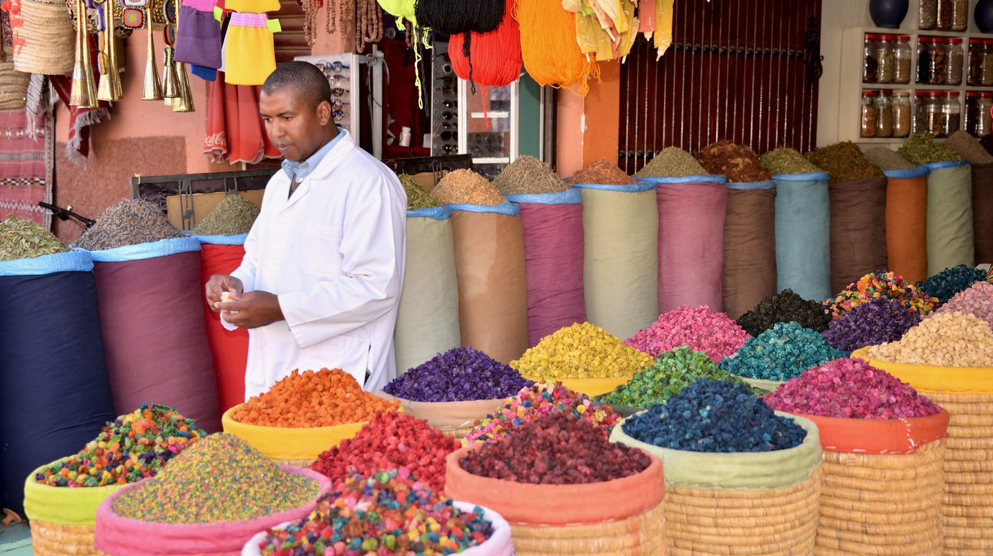 "<a href = ""https://www.flickr.com/photos/erix-pix/31063308270""> Colourful Moroccan spices at a market 