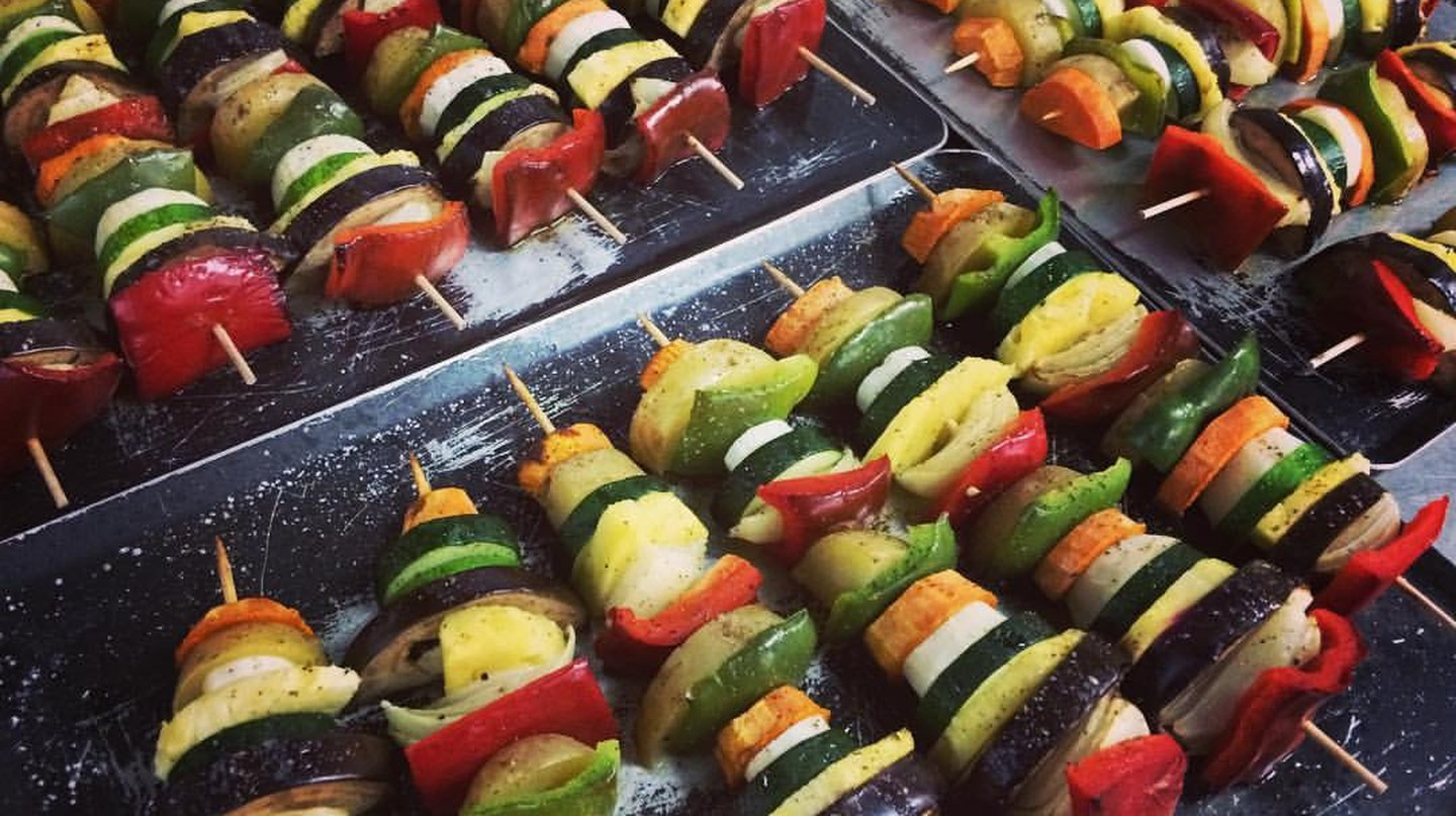 Vegetable skewers at Clorofil·la Cuina Vegetariana