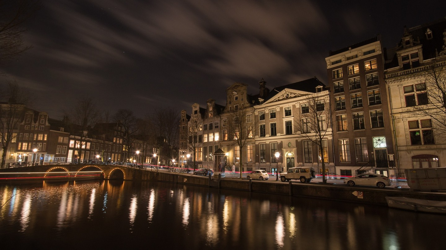 Nighttime on Amsterdam's canals