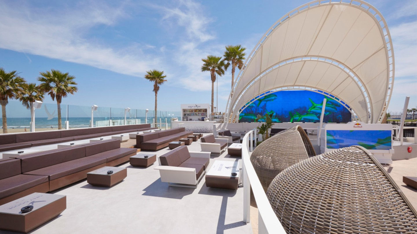 The terrace at Marina Beach Club, Valencia. Photo courtesy of Marina Beach Club