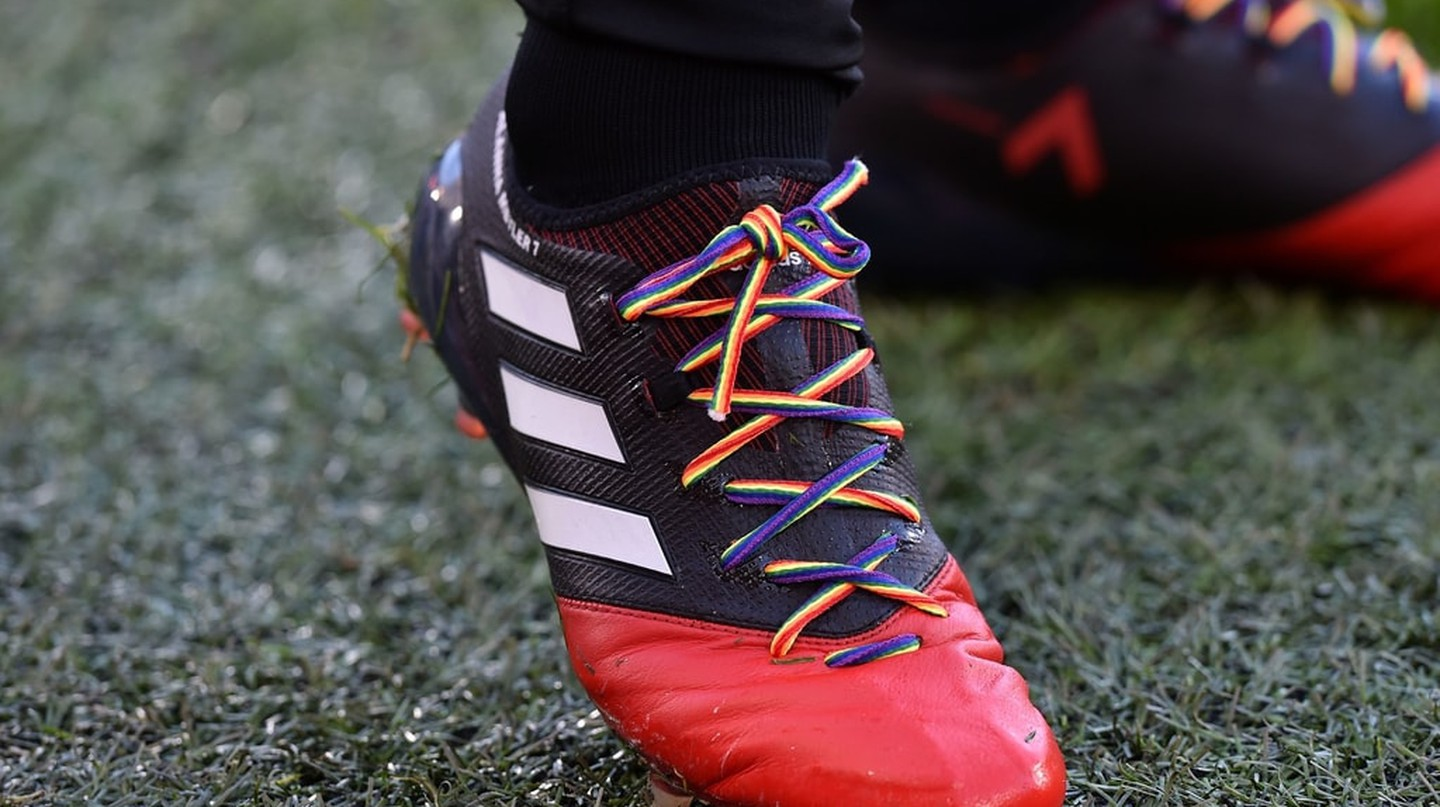 Rainbow laces in support of the LGBTQ community