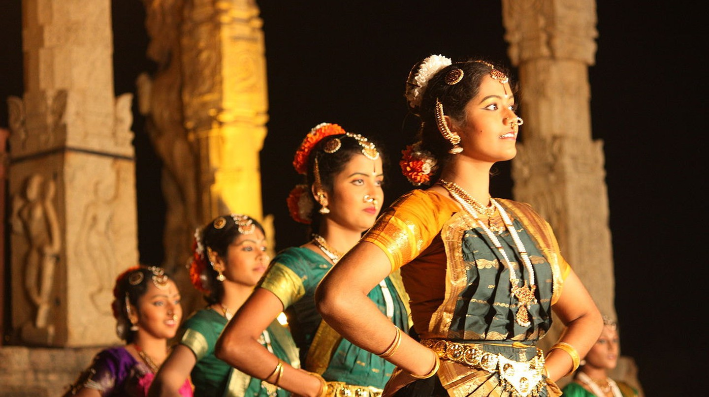 A Bharatanatyam dance recital inside the Brihadeeswarar Temple in Thanjavur, India