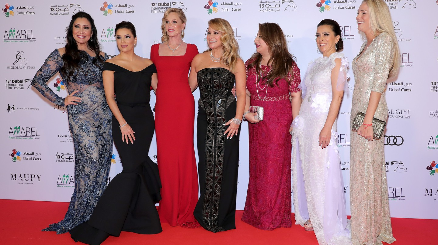 DUBAI, UNITED ARAB EMIRATES - DECEMBER 12:  Maria Bravo, Eva Longoria, Melanie Griffith, Anastacia and guests attend the Global Gift Gala during day six of the 13th annual Dubai International Film Festival held at the Four Seasons Hotel on December 12, 2016 in Dubai, United Arab Emirates.  (Photo by Neilson Barnard/Getty Images for DIFF)