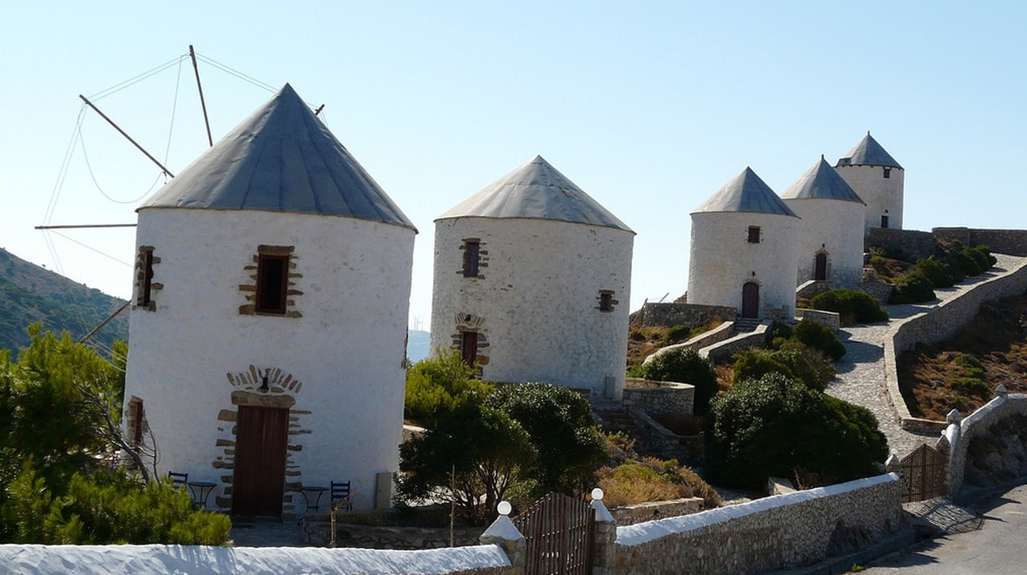Old wind mills in Agia Marina, Leros