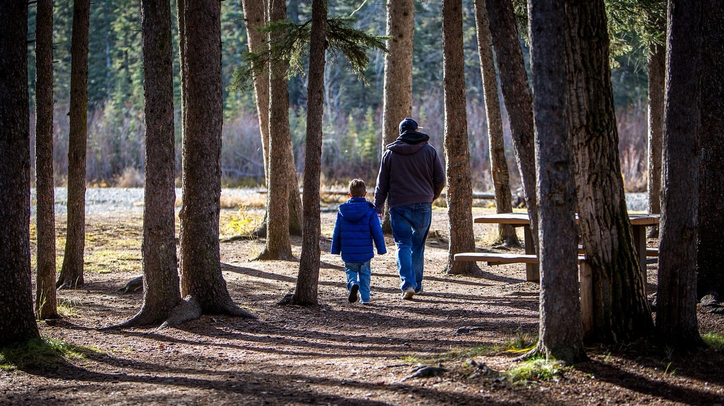 Father and child walking in the forest | © laterjay / Pixabay