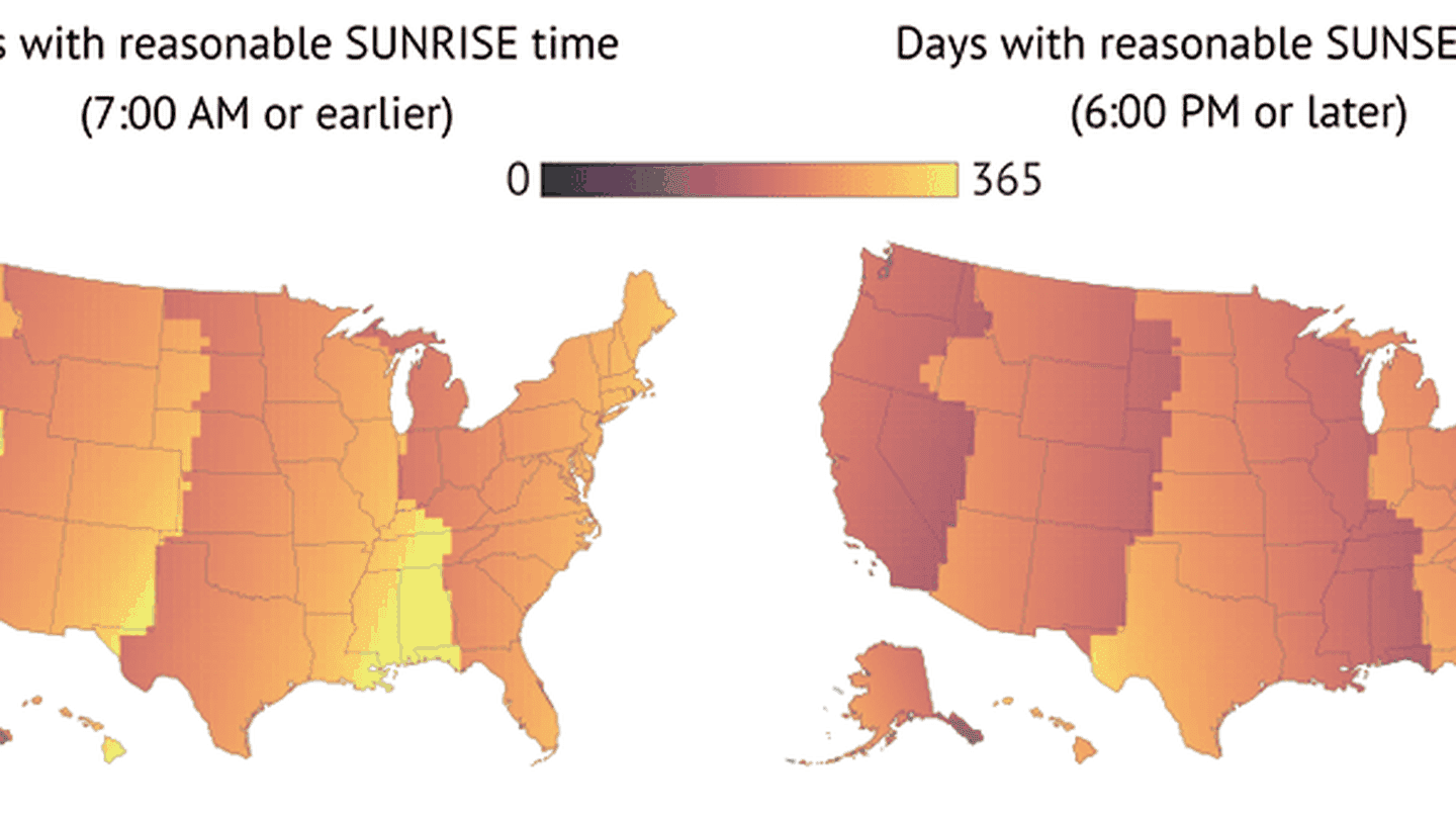 These Maps Prove That Daylight Saving Time Is Ruining Our Lives