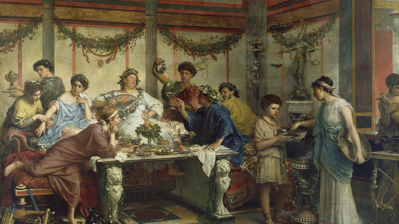 A Roman Feast by Roberto Bompiani   © WikiCommons
