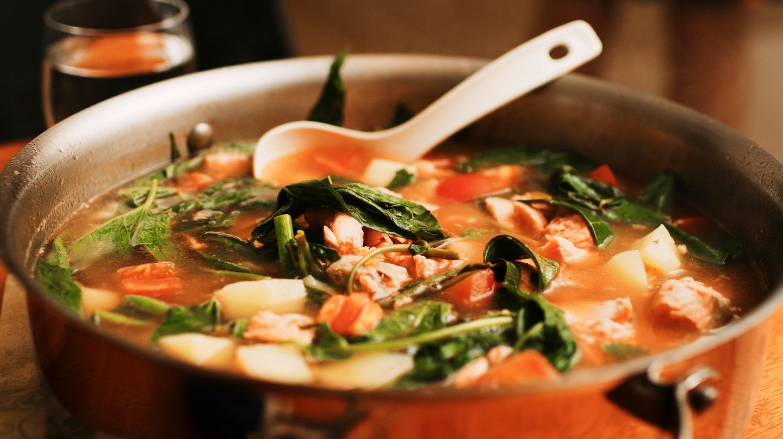 Pot of salmon sinigang