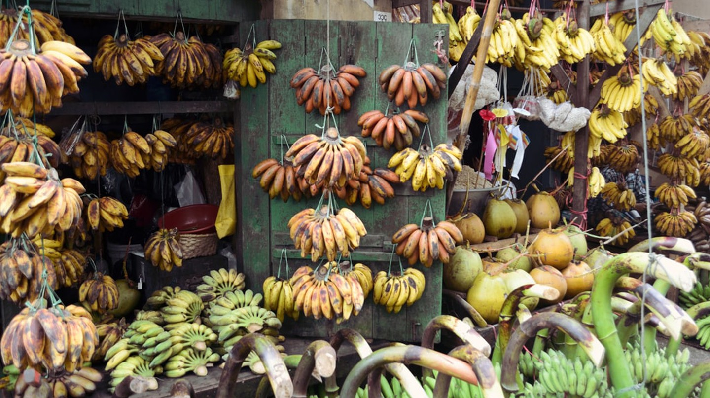 A variety of bananas hang from a banana shop on 17th Street in Yangon, Myanmar | © Chase Chisholm