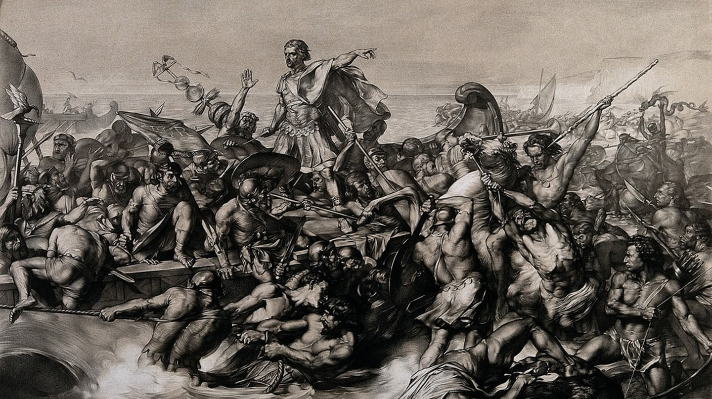 V0048276 Caesar's first invasion of Britain: Caesar's boat is pulled Credit: Wellcome Library, London. Wellcome Images images@wellcome.ac.uk http://wellcomeimages.org Caesar's first invasion of Britain: Caesar's boat is pulled to the shore while his soldiers fight the resisting indigenous warriors. Lithograph by W. Linnell after E. Armitage. By: Edward Armitageafter: William LinnellPublished:  -   Copyrighted work available under Creative Commons Attribution only licence CC BY 4.0 http://creativecommons.org/licenses/by/4.0/