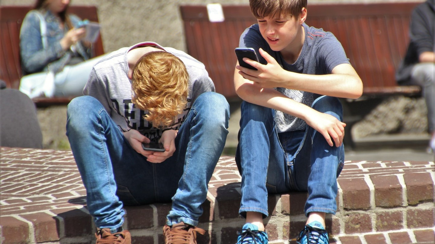 Boys on phone
