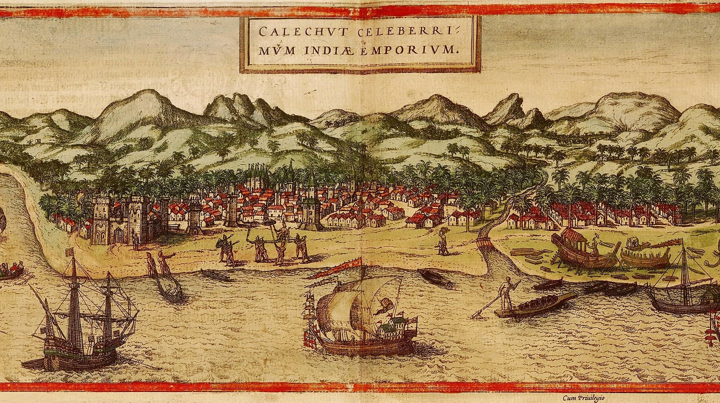 A panorama of Calicut from the atlas Civitates orbis terrarum, 1572 | © BRAUN and HOGENBERG / WikiCommons
