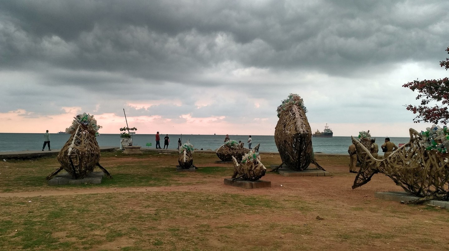 Sculptures arranged on the beach from the 2014 Kochi-Muziris Biennale