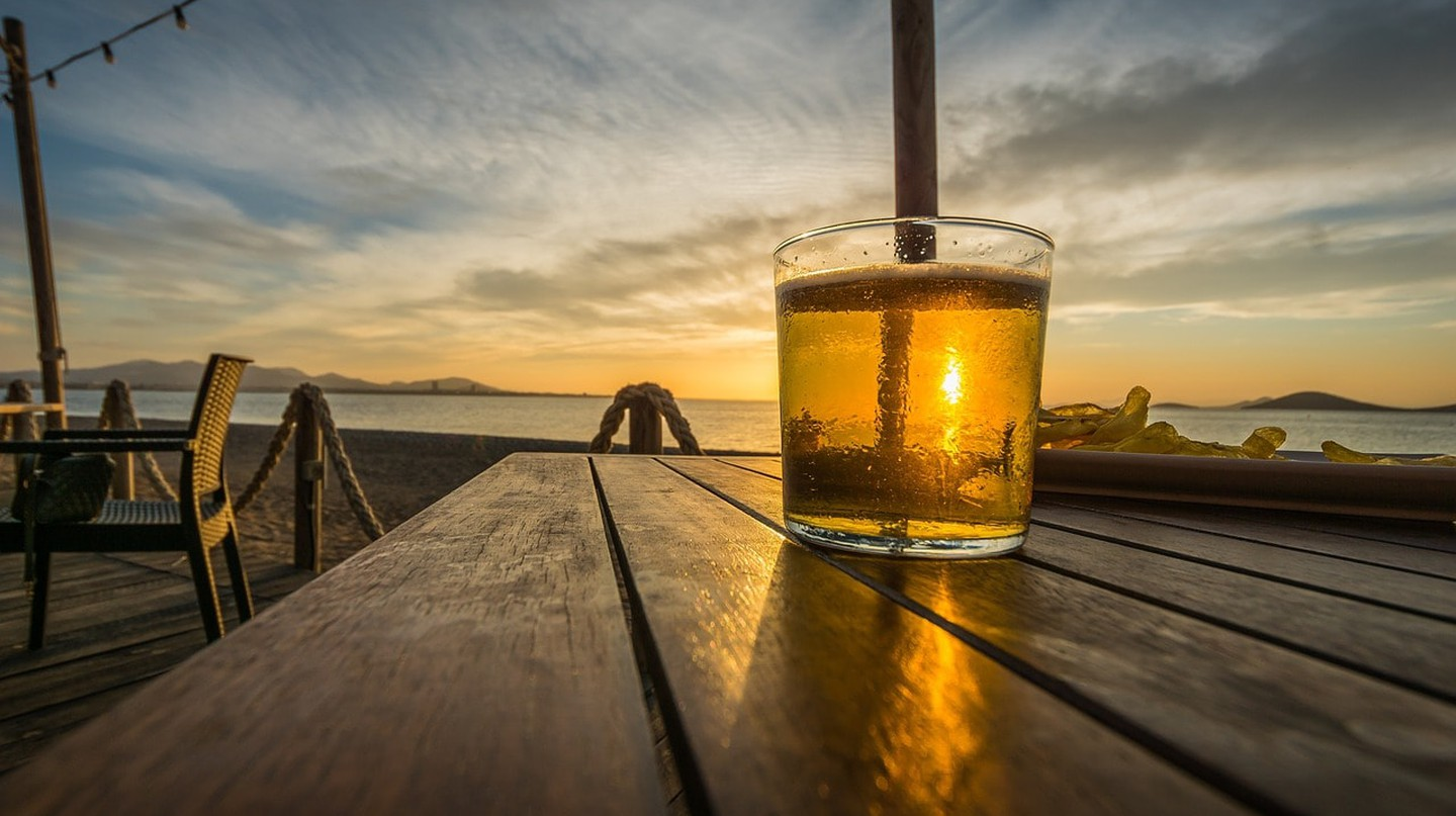 A cool drink at sunset