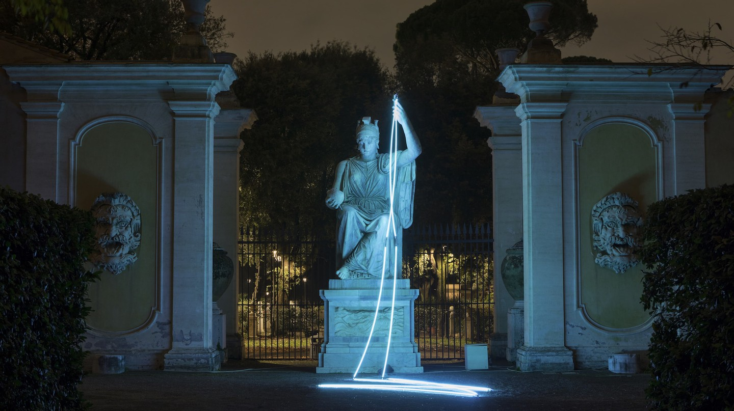 Lamentable by François Morellet in its new setting at Villa Medici | © Courtesy of French Academy in Rome – Villa Medici