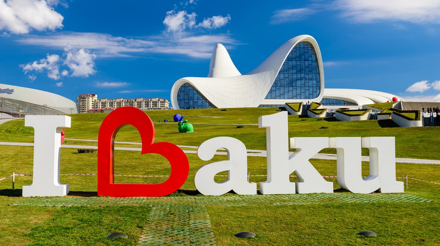 I Love Baku sign outside the Heydar Aliyev Center | © RAndrei/Shutterstock