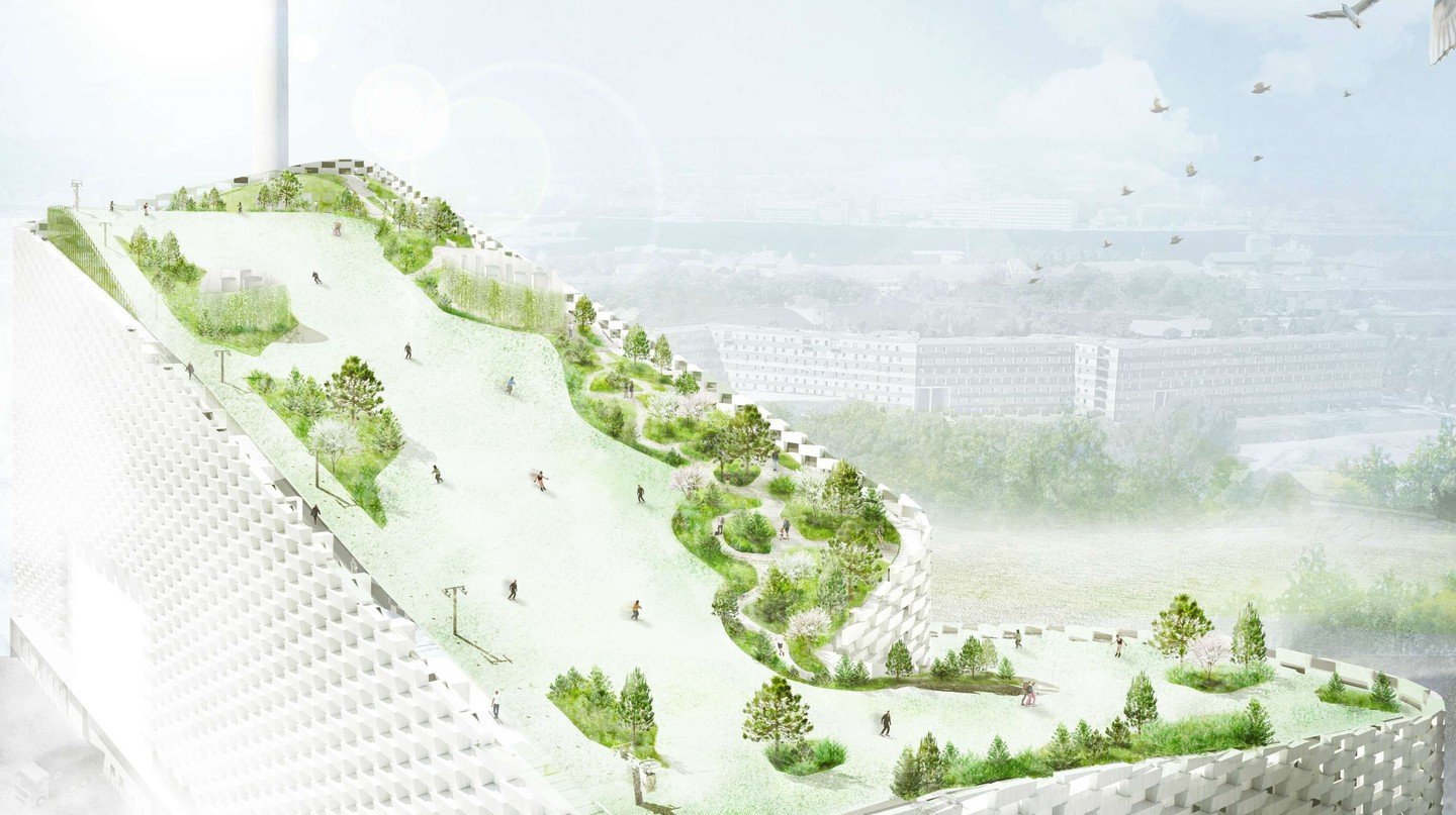 Ski slope at Amager Bakke Waste