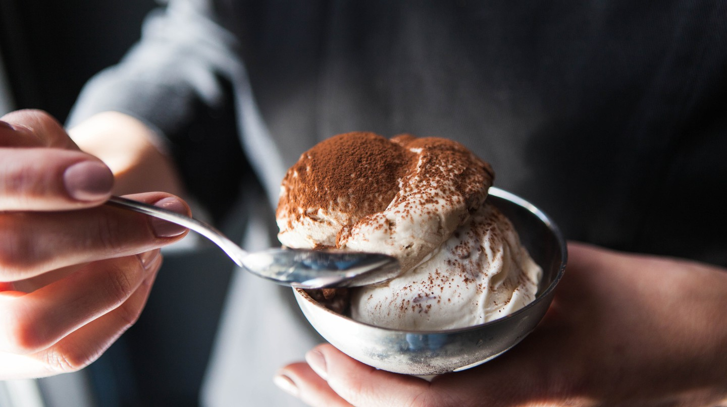 Tiramisu in Chilled Stainless Steel Bowl | Courtesy of Gelatiamo