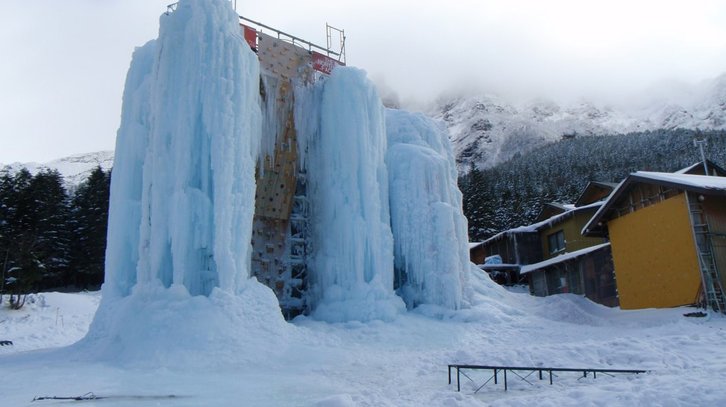 Ice climbing wall 'Ice Candy' at Akadake Kosen in Nagano