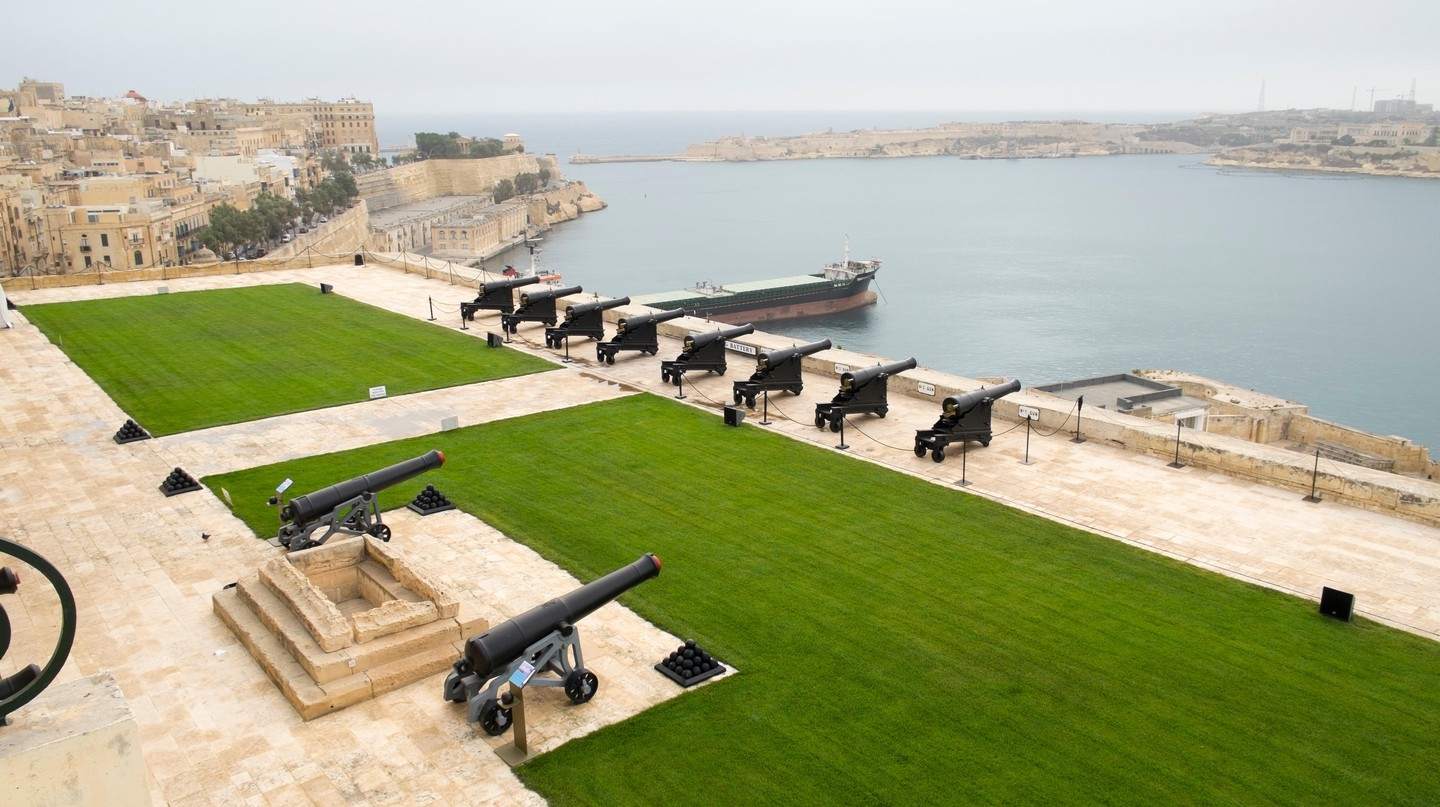 Upper Barrakka Gardens and Grand Harbor in Valletta, Malta