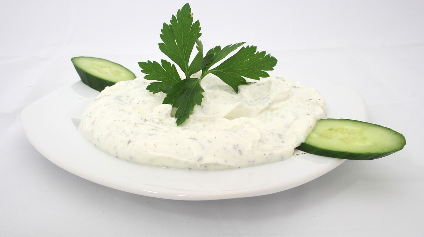 Typical Bulgarian yogurt Snezhanka salad