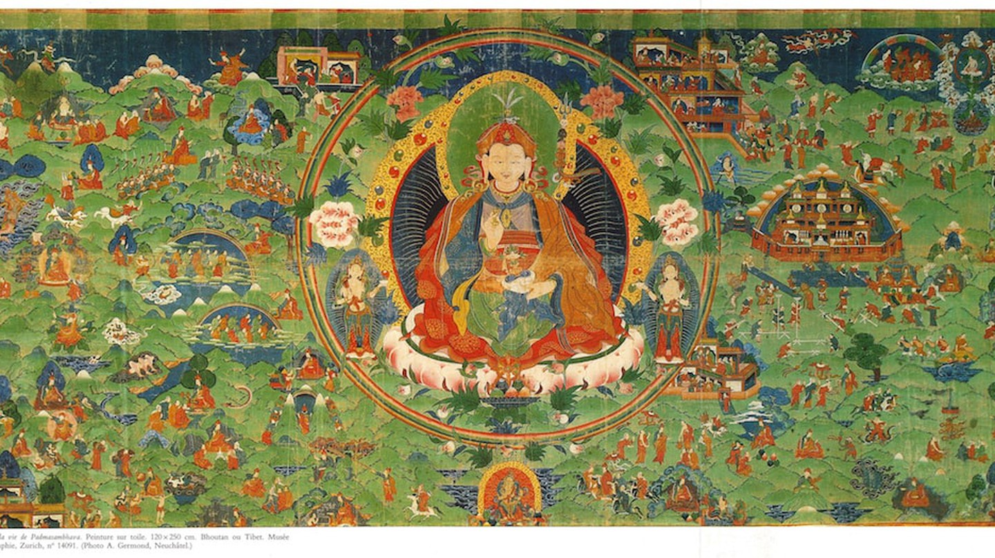 Scenes from the Life of Padmasambhava. Bhutan or Tibet; ca. 18th century. Ethnographic Museum at the University of Zurich. | Courtesy of the Rubin Museum of Art