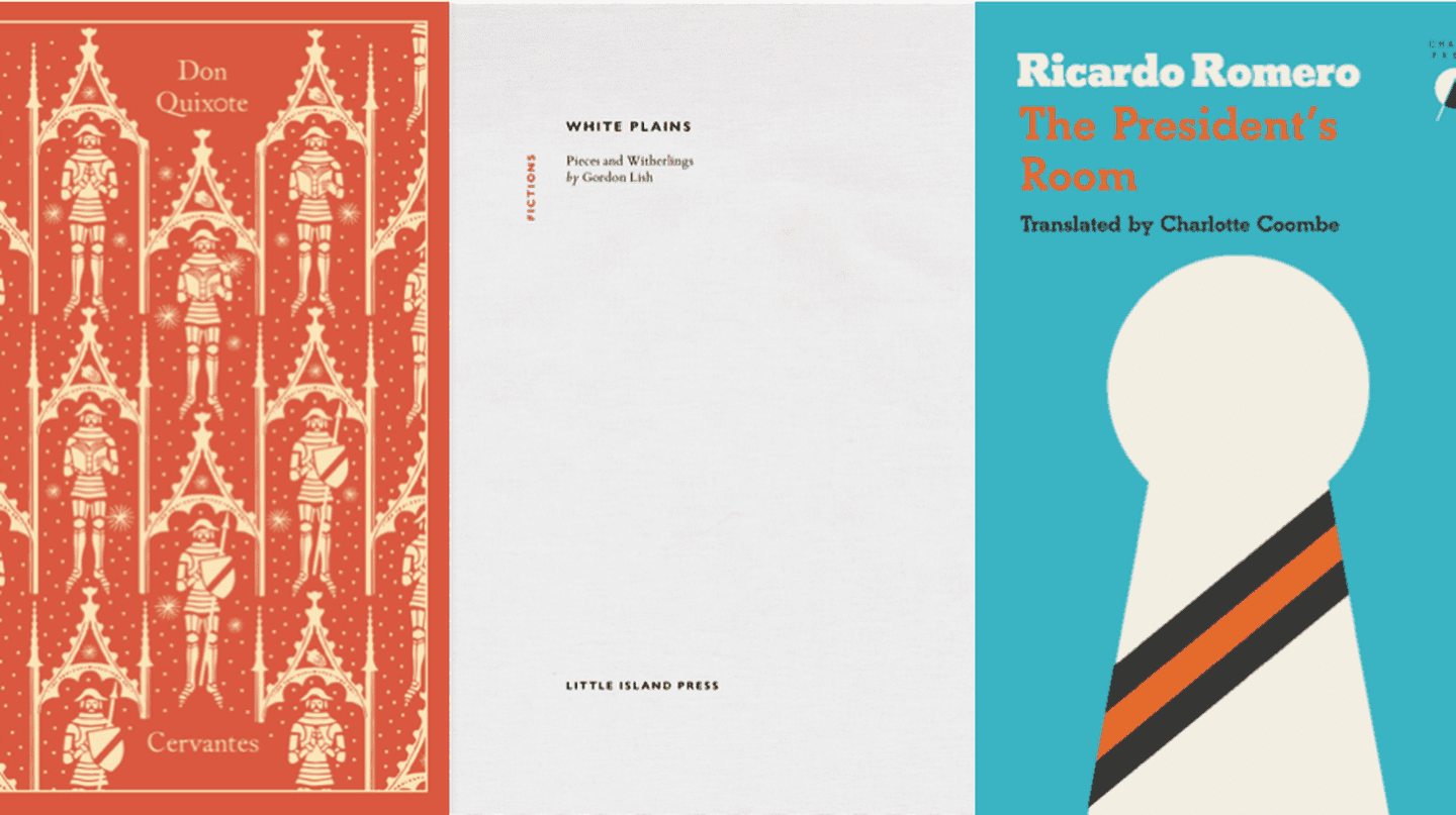Covers courtesy of Penguin Random House, Little Island Press and Charco Press