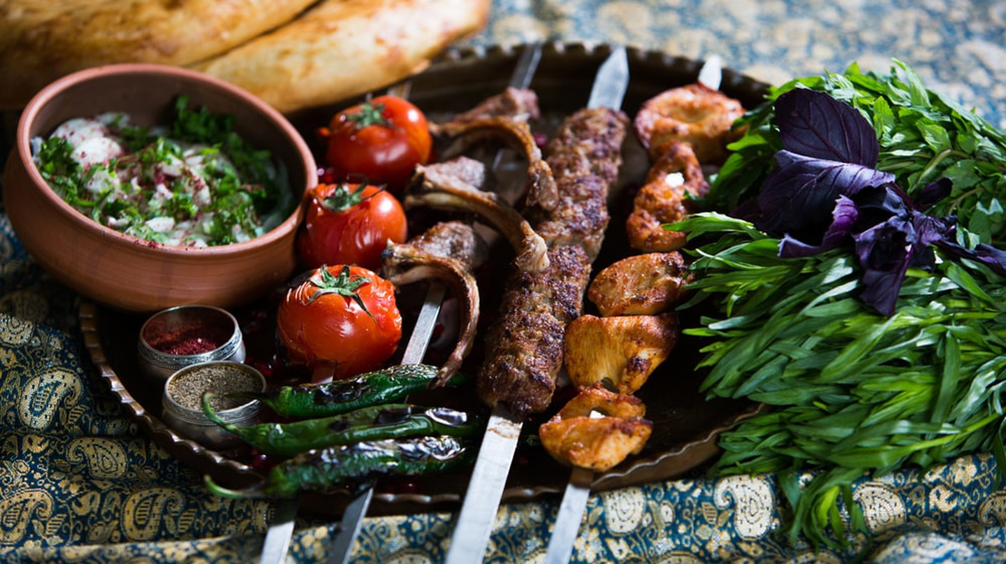 You can easily find affordable local meals such as Kebab with vegetables in Baku