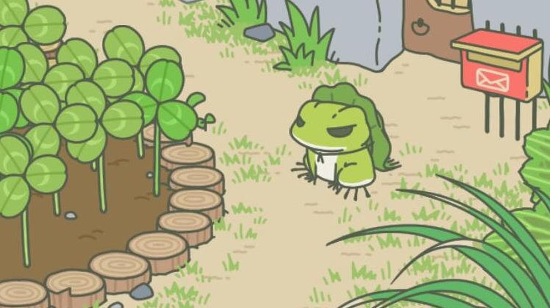 Tabikaeru in his garden | Screenshot taken from WeChat's traveling frog game