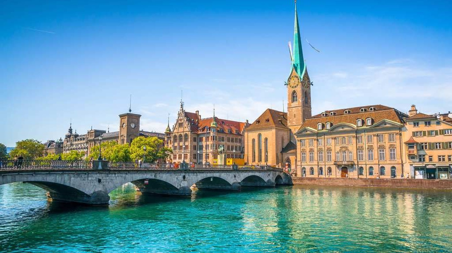 The historic city of Zurich and the river Limmat, Switzerland