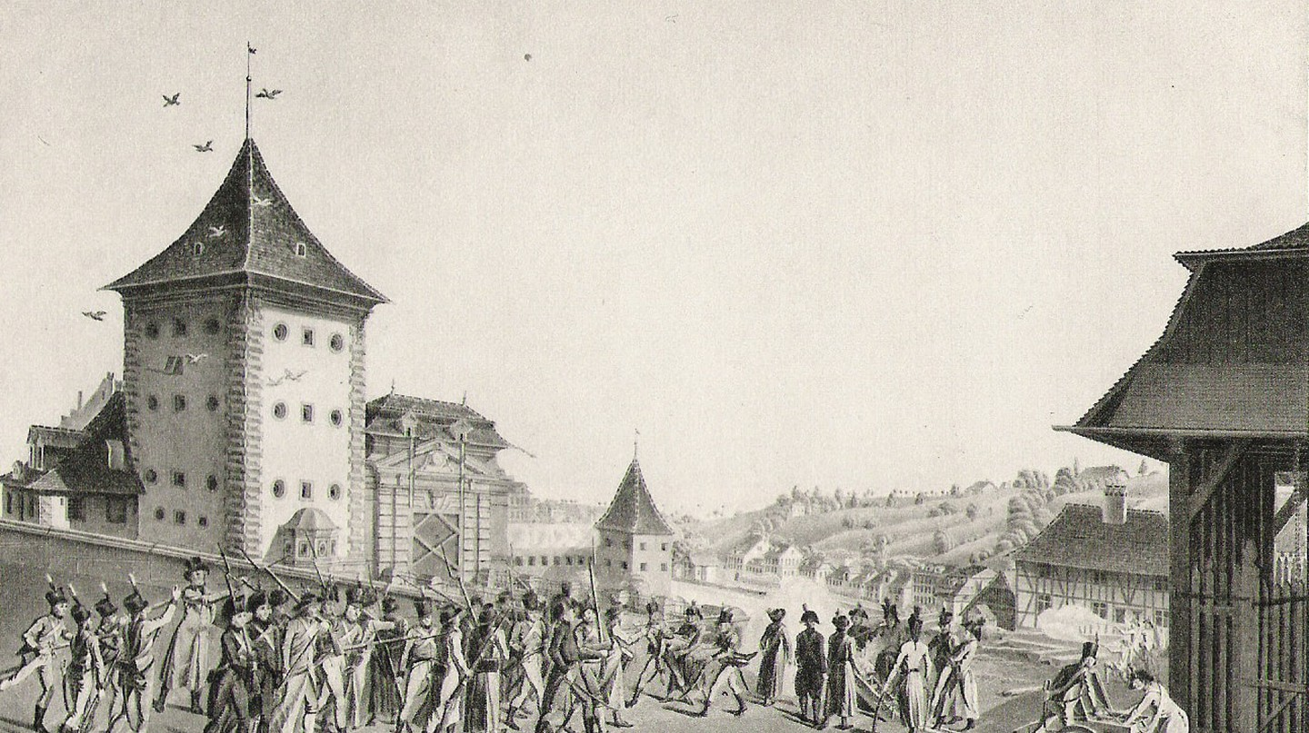 Fancily clad Swiss rebels brandish their sticks | Public Domain/ Wikicommons