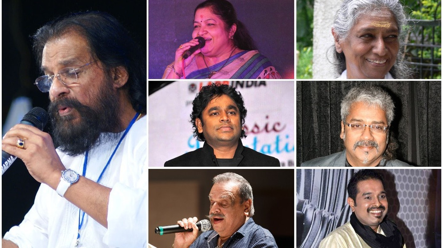 Singer collage. From left; Column 1 - KJ Yesudas. Top to bottom; Column 2 - KS Chitra, AR Rahman, P Jayachandran. Column 3 - S Janaki, Hariharan, Shankar Mahadevan