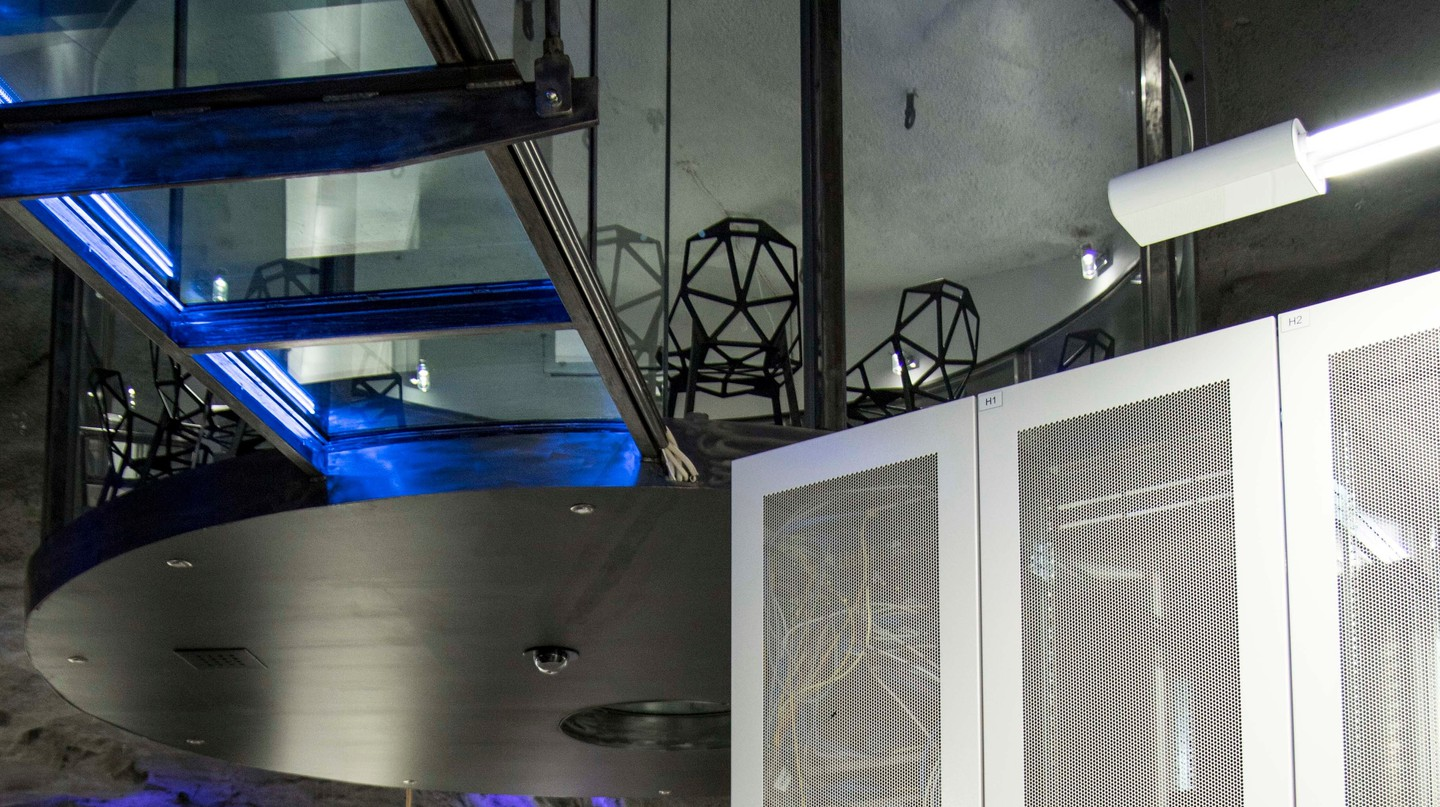 The amazing conference room at Pionen data center hangs over the room below | Courtesy ofBahnhof AB / © Maria Landhall