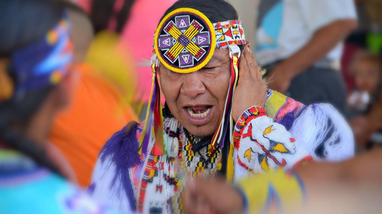 A dancer at a Nanticoke Lenni-Lenape powwow in 2014