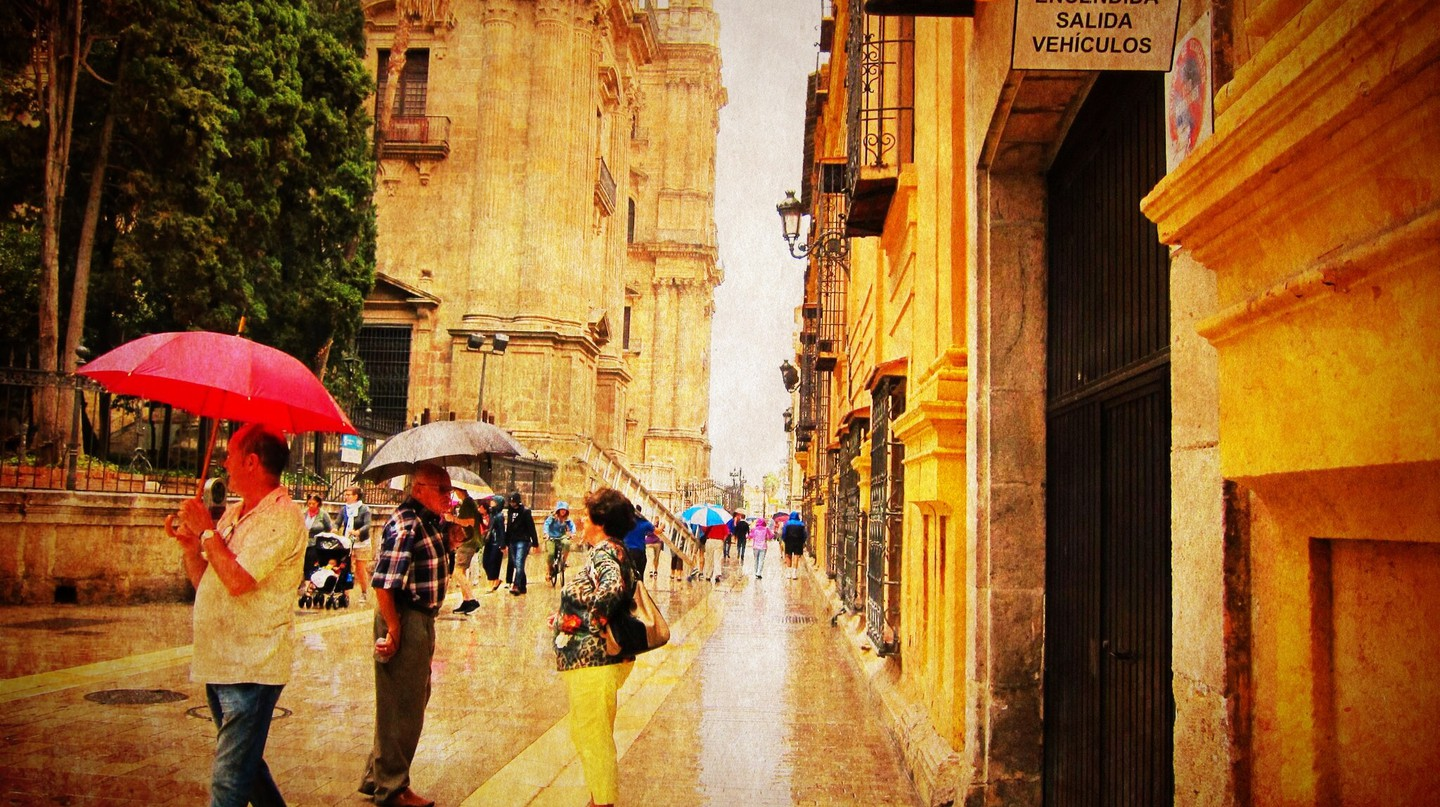 Málaga, Spain, on a rare rainy day