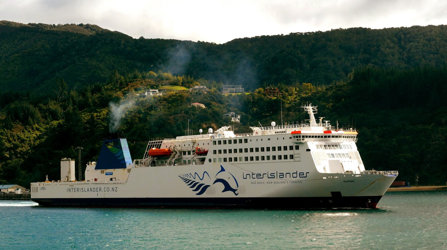 Interislander Ferry with the legendary Pelorus Jack in its logo.