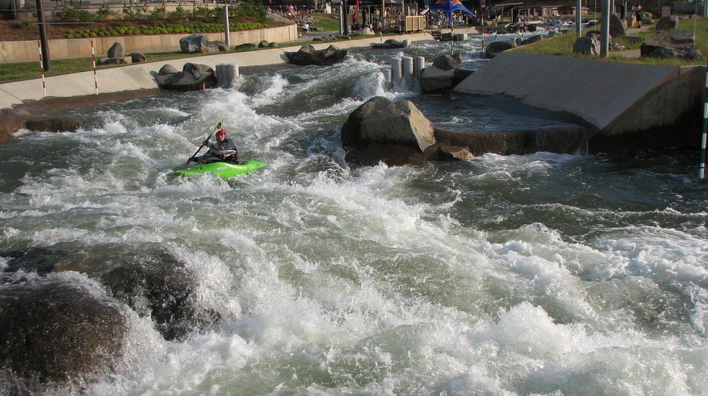 Running the rapids at the US National Whitewater Center
