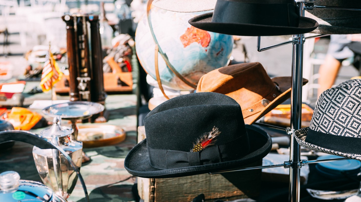 Hats at the Rose Bowl Flea Market in Pasadena