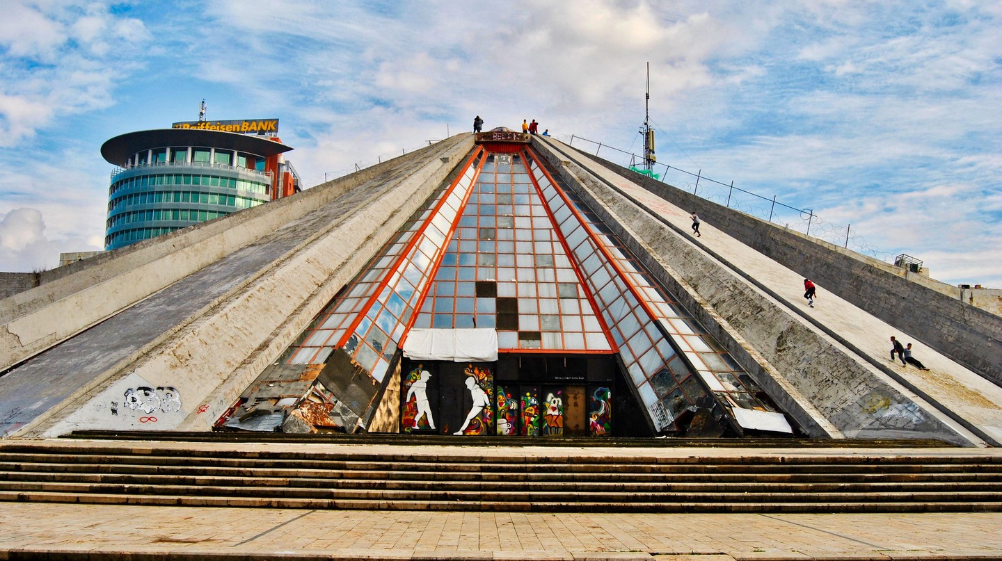 The pyramid of Tirana, one of the symbols of the Albanian capital city