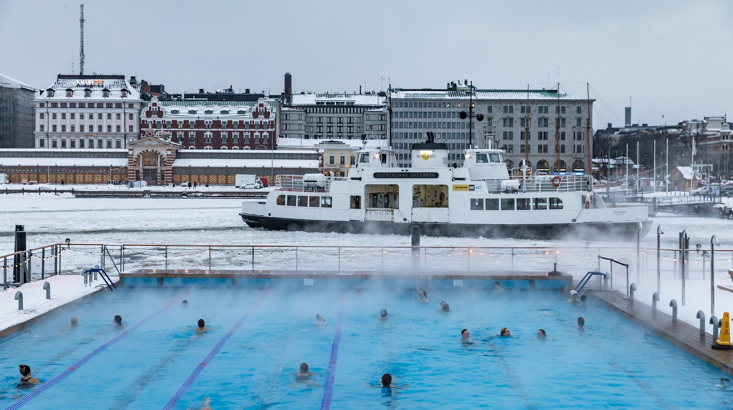 Winter swimming pool in Helsinki harbour