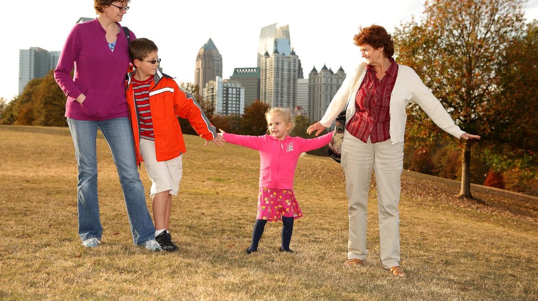 Family in Piedmont Park in Atlanta