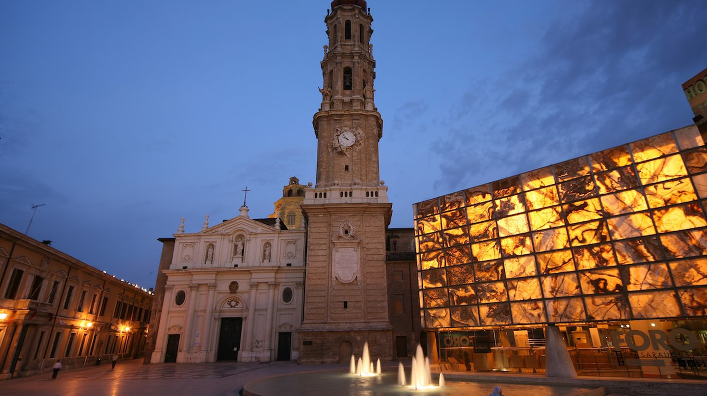 Nighttime shot of Plaza La Seo in Zaragoza, Spain