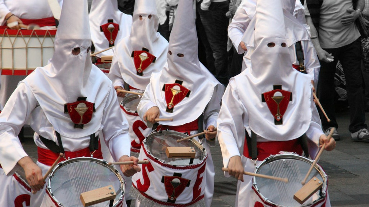 Drumming during one of Bilbao's Holy Week processions