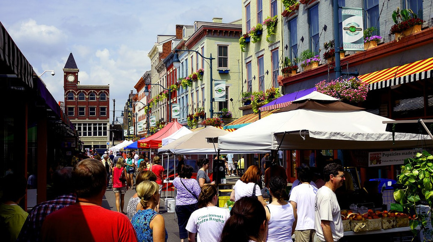 People taking a stroll through Findlay Market