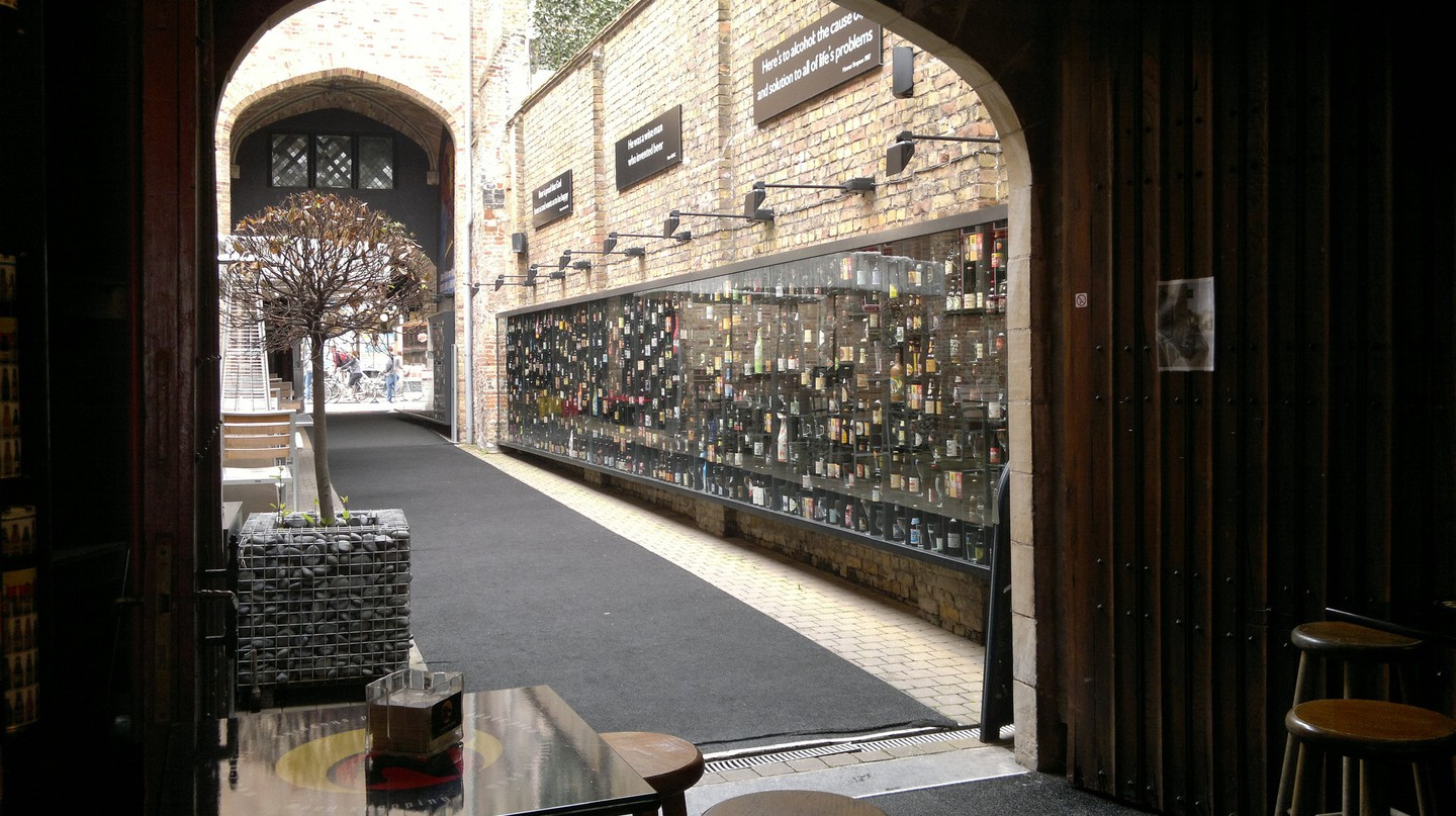 Cafe 2be in Bruges is known for its Beer Wall featuring hundreds of different types of beer |